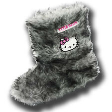 Girls Size 8 - 2 HELLO KITTY Grey Furry Bootee Slippers NEW Burmese Boots