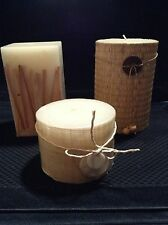 Beautiful Pillar Candles w/ Woven Coverings, Reeds & Embellishments, NEW