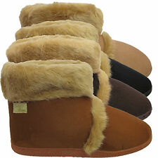 Mens Thick Sole Furry Micro Suede Indoor Slippers Warm Coolers Ankle Boots Size