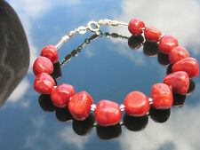 Stunning Red Coral Lapis Lazuli Crystal Beads Bracelet Earrings Set 925 Silver