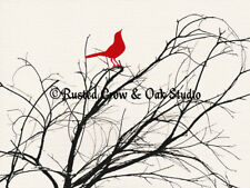 Red Bird (Choose Color) on a Branch Home Decor Art Matted Picture Art Print A533