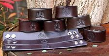HANDMADE THICK LEATHER BUSHCRAFT BRACELETS WITH FIRE, COMPASS OR PAW PRINT MOTIF