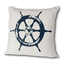 Cricket Radio: Ship's Wheel Linen Pillow, in Aqua, Curry & Oyster