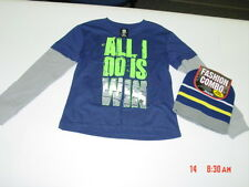 NWT Boys Shirt Beanie Hat Set Graphics Layered Look Thermal Sleeve NEW Sporty