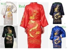 Silk Japanese Chinese Kimono Dressing Gown Bath Robe Embroidery Dragon SZ:M-2XL