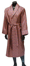 Mens silk medallion dressing gown wine,blue,gold