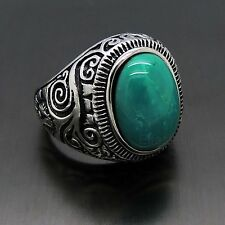 Mens Large Natural Oval Turquoise Gemstone Stainless Steel Ring US Size 8-15