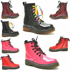 KIDS GIRLS ANKLE VINTAGE ZIP UP COMBAT RETRO STYLE LACES CAUSAL SHOES BOOTS 10-2