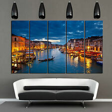 VENICE Night framed 5 panel wall art/PVC canvas mounted on fiberboard/Easy Hang