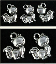 Wholesale 50pc Erogenous beautiful Tibet Silver Animal fox Charm Pendants 15mm