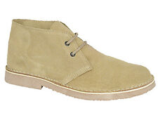 Mens New Wide Fitting Rounded Front  Camel / Taupe Suede Desert Boots Uk 3 - 15