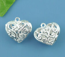 Wholesale Lots Silver Plated Hollow Heart Charm Pendants 21x20mm