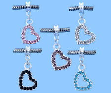 Wholesale Lots Mixed Rhinestone Heart Dangle Beads Fit Charm Bracelet 31x14mm