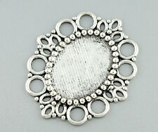 Wholesale Lots Silver Tone Oval Cameo Frame Settings 43x37mm