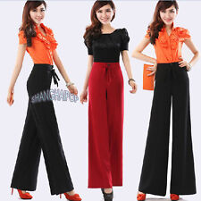Women/Lady Wide Leg Trousers Pants Palazzo Flare Slack High Waist Rise Black/Red