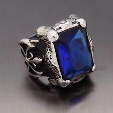 Mens Huge Silver Dragon Claw Sapphire CZ 316L Stainless Steel Biker Ring
