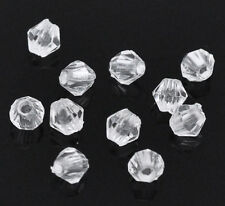 Wholesale Lots Clear Faceted Bicone Acrylic Spacer Beads 4x4mm