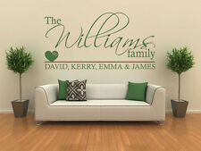 PERSONALISED Family Wall Art Quote, Wall Sticker, Decal, Vinyl Transfer