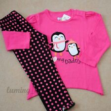 GIRLS Baby Toddler Kid's Clothes 2piece cotton suit(T-shirt+pants)Two Penguins