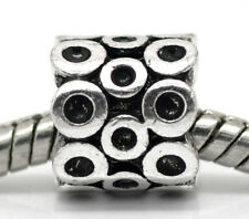 Wholesale Lots Silver Tone Looped Spacer Beads Fit Charm Bracelet 9x9mm