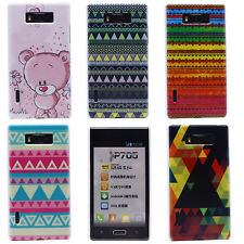 Cute Pink Bear Delta Stripe Mural Hard Back Case Cover for LG Optimus L7 P700