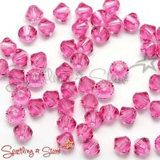 ROSE (209) GENIUE SWAROVSKI 5328 CRYSTAL BEADS BICONE 4MM *50 / 100 / 200* DIY