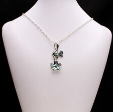 Abalone Pearl Flower and Butterfly Pendant Necklace