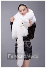 New Large Real Genuine Fox Fur Whole Skin Winter Unisex Shawl Stole Scarf PF11