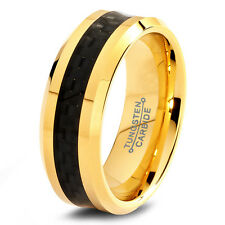 Men Tungsten Carbide Wedding Band Ring 8mm Black Carbon Fiber 18k Gold ALL Sizes