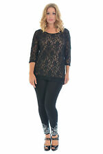 Womens Lace Top Ladies Tunic Plus Size Nude Floral Lined Party T-shirt Nouvelle