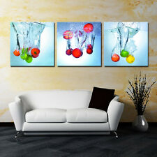 FRUIT/SPLASH ready to hang 3panel mounted on MDF picture/Waterproof Vinyl Canvas