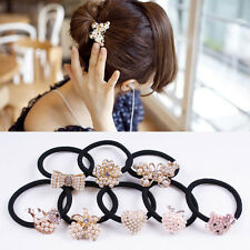 Butterfly Style Crystal Rhinestone Pearl Hair Band Tie Elastic Ponytail Holder