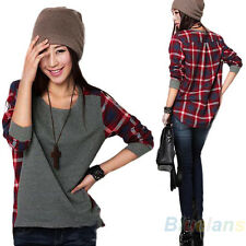 Women Stylish Splicing Loose Checks T-shirt Long Sleeve Blouse Tops Shirt B13U