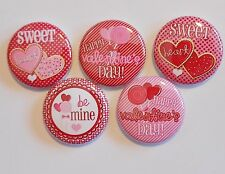 """Happy Valentine's Day Flatback - Pin Back Buttons 1"""" for Bows Embellishments Etc"""