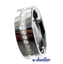 Tungsten Carbide Ring Stunning Diamond Men's Wedding Band size 8 to 14.5