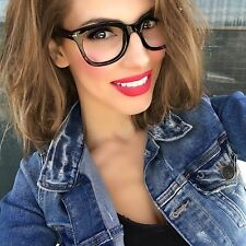 Fashion Designer Rectangular Square Thick Full Frame Clear Lens Women Eyeglasses