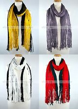 Winter Scarf Warm Knit Tassel Fringe Fishnet Net Long Two Color Design Fashion
