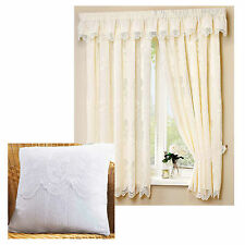 """Juniper 3"""" tape top fully lined lace curtains WHITE or CREAM - FREE Tie backs"""