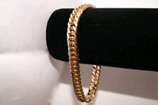 REAL 24K GOLD LAYERED 10MM CURB LINK MEN CHAIN BRACELET  FREE LIFETIME GUARANTEE