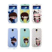 Cartoon Sense Smart Flip S-View Window Cover Case for Samsung Galaxy S4 IV i9500