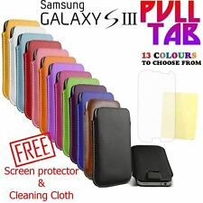 Samsung Galaxy S3 i9300 Mobile Pull Tab Soft PU Leather Pouch Case Cover
