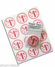 12 Pink Balloons Birthday Age 1st -10th Cupcake Decoration Cake Toppers 40mm Cut