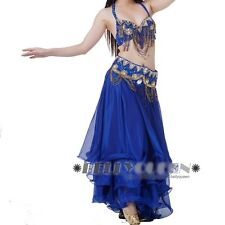 Professional Belly Dance Costume Dancewear Dancing Outfit 3Pcs Bra Belt Skirt