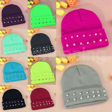 Women Men Rivet Cool Winter Warm Crochet Knitted Knit Ball Ski Cap Hat Beanie
