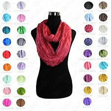 New Women's Viscose Infinity Long Scarf Shawl Loop Cowl Wrap Nylon Solid Color