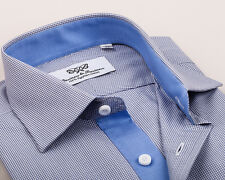Business Dress Shirt in Blue Luxury Designer Style with 2 Ply Egyptian Cotton
