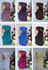 HJ2011 Fashion 2 PCS Crystal Muslim Hijab Islamic Scarf