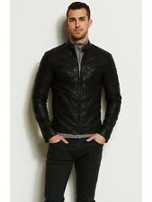 New Armani Exchange A|X Mens Slim/Muscle Fit Faux Leather Moto Jacket