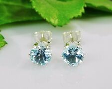 Genuine Sky Blue Topaz Round 925 Sterling Silver Earrings (Choose Your Size)