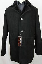 Men New 100% Genuine Suede Shearling Leather Sheepskin Coat Trench Jacket XS-8XL
